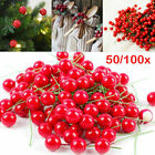 Artificial Red Holly Berry Ornament DIY Craft Accessories Christmas Decor Sl