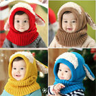 Toddler Kids Baby Boy Girl Hooded scarf Caps Hat Winter Warm Knit Flap Scarf US