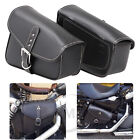 Pair Black PU Leather Side Saddle Bags for Harley softtail Chopper Sportster USA