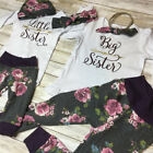 Big Little Sister Matching Set Baby Girls Tops Romper Pants Outfits Clothes US