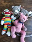 LOT OF 3 TY Beanie Baby Mixed All W/Tags Cromwell Socks( Extra Tag)And Purr