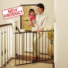 Wide Baby Safety Gate Child 2 4 Foot Large Metal Fence Stairs Door Lock Dog Pet
