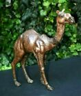 Vintage Atq Large 135 Leather Camel Figure Black Glass Eyes Hand Pieced Stuffd