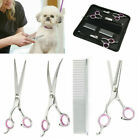 7Professional Pet Dog Grooming Scissors Set Straight Curved Thinning Shears Kit