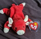 RETIRED  Snort the Bull w/PVC pellets~TY Beanie Babies Original 1st Edition Baby