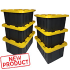 6 PACK 15 Gal Storage Totes Large Plastic Box Tote Lid Stackable Container Bin