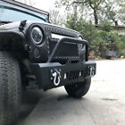 Front Rear Bumper Led Lights Built In Winch Plate For Jeep Wrangler Jk 07-18 Us