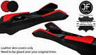 BLACK  RED 2X KNEE PAD LEATHER  ARMREST COVERS FOR CHEVROLET CAMARO 16 20