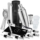 19 Piece Exclusive Cocktail Shaker Set and Bartender Kit With Tote Shot Glasses