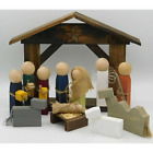 Handmade Wood Nativity Set with Stable Rustic Christmas Decor