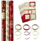 Hallmark Reversible Christmas Wrapping Paper Set with RibbonGift Tag Stickers