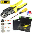 5 in1 Insulated Cable Connectors Terminal Crimping Tool Wire Crimper Pliers Case