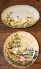Rare LAMAS Made In italy Farm Large Serving Bowl Platter Sheep Rooster