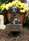 Lifelike Black Labrador Retriever Dog With Welcome Jingle Collar Sign Statue