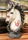 Native Indian Warpath Tribal White Horse Head Bust with Hamsa Palm Statue Decor