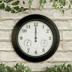 Large Metal 18 In Indoor Outdoor Wall Clock Hygrometer Temperature Gauge