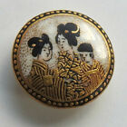 Antique Vintage Ceramic Satsuma Picture Button 3 Oriental Ladies Gold Accents