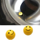 4 Yellow Smiley Face Ball Tire/Wheel Air Stem Valve Caps for Car-Truck-Hot Rod