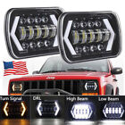 7x6 5x7 Square Halo LED Headlights DRL Turn Signa for Jeep Wrangler GMC YJ XJ