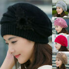 Fashion Womens Flower Knitted Crochet Beanie Hats Winter Warm Beret Slouch Caps