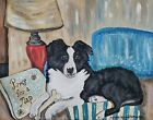 Border Collie Collectible Lounge Pop Art Print 8 x 10 Dog Vintage Style Signed