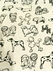 Dog Doggie Black  White Flannel Fabric JoAnn Fabrics 3 4 Yard NEW