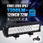 12 72W LED Light Bar Combo Driving Lamp Truck Offroad Truck For Chevy Ford 13