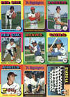 1975 Topps Baseball Card Lot  100 Different Cards Starter Set