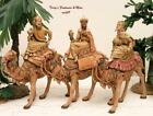 FONTANINI DEPOSE ITALY EARLY 5 3 KINGS ON CAMELS NATIVITY VILLAGE F