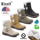 Womens Leather Ankle Boots Buckle Chelsea Martin Snow Waterproof Ski Shoes Size