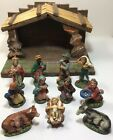 Vintage Nativity Set Italy Figures Exclusive LEFTORIS Manger 11 Piece Clay Paper