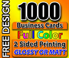 Business Cards Free Design  Shipping Qty 1000 Full Color 2 Side Print