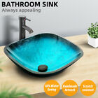 Bathroom Vessel Sink Tempered Glass Basin Bowl Top Faucet Pop up Drain Combo New