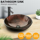 165 Bathroom Vessel Tempered Glass Sink Bowl Faucet Bronze Drain Combo Round