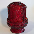 Vintage 1950's Indiana Glass Ruby Red Stars and Bars Design 2 Piece Fairy Lamp