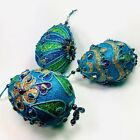 Peacock Egg Christmas Ornaments 55 Tall Kurt Adler Mardigrass Set of 3