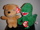 Ty Beanie Baby Set~ MR. DINOSAUR & PEPPA'S TEDDY Peppa Pig Theme Park Exclusives