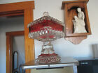 Vintage Indiana Glass  Ruby Red Glass Covered Wedding Candy Compote Square 10