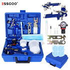 Essgoo Hvlp Gravity Feed Air Spray Gun 600cc Cup 0.8 1.4 Tips W Air Regulator