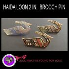 First Nation Jewelry  Haida Loon Black Red Black Gold Blue Gold Pin Brooch
