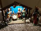 Vintage Sears And Roebuck Hand Painted Made In Japan 13 Piece Nativity Set