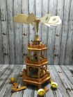 Vtg Christmas Pyramid Tower Nativity 3 Tier Wood Windmill Carousel Candle Holder
