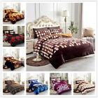 3 Piece Reversible Warm Flannel Plush Sherpa Borrego Blanket Queen King Size