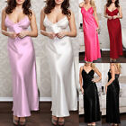Women Satin Silk Lace Robe Dress Sleepwear Lingerie Nightdress Long Nightgown US