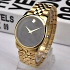 NWT MOVADO 0606997 Black Dial Yellow PVD Museum Classic Analog Men's Watch
