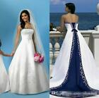 White And Blue Satin Beach Wedding Dresses Strapless Embroidery Bridal Gown