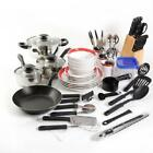 Kitchen Combo Set Home Essential Cookware Dinnerware Pots and Pans 83 Pcs Red