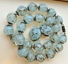 Antique Deco Venetian Blue Gold Dust Adventurine Glass Bead Necklace Earrings