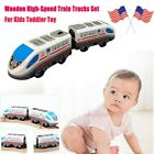 Wooden High Speed Train Tracks Set For Kids Toddler Toy Children Play Toy Car US