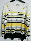 Alfred Dunner Wmns Native N Y Multicolor Print Embellished Sweater Top 2X 024B